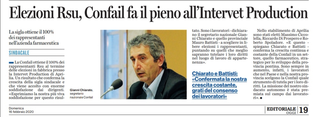 "Rassegna Stampa: ""Latina Oggi"" del 16/02/2020"
